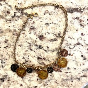 Chico's coin necklace gold brown